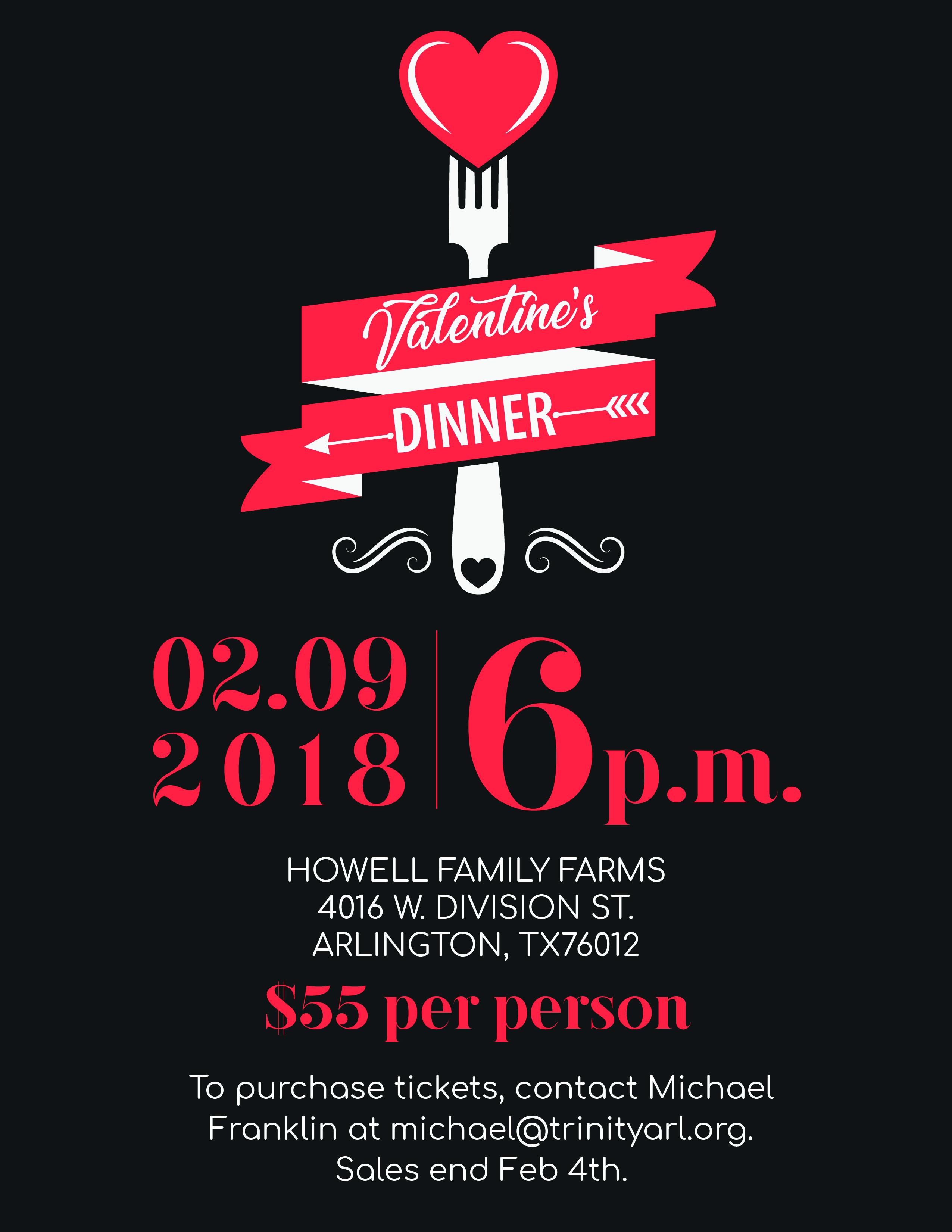 Valentines Dinner Fundraiser Advertisement