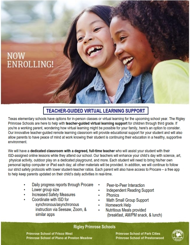 Now Enrolling Virtual Learning Support Ages 5-10 - Plano, Frisco, Addison, Dallas