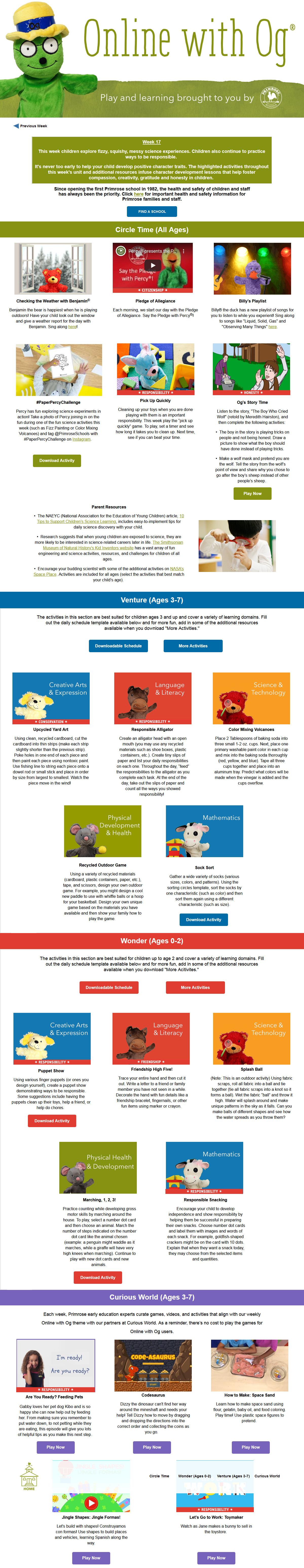 Online with Og *Free Online Preschool Curriculum* Week 17 - Squishy, Fizzy Fun!